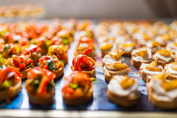 Rows of canapes
