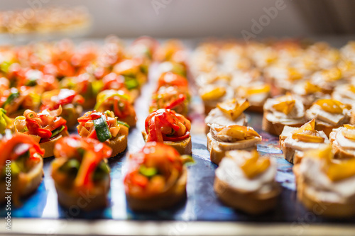 Foto op Canvas Kruidenierswinkel Rows of canapes