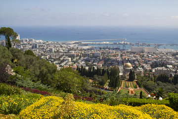 City of Haifa in Israel from the Bahai Garden ,View to Sea and h