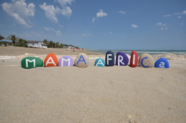 Mama Africa, love Africa concept on stones