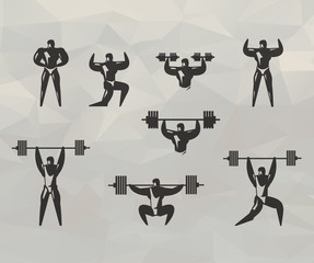 Gym icons. Vector format