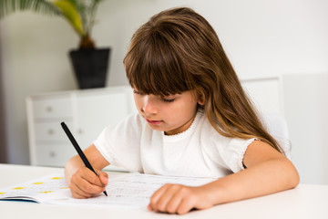 Girl with homework
