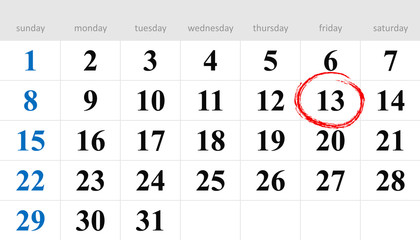 Thirteenth circled in red on the calendar