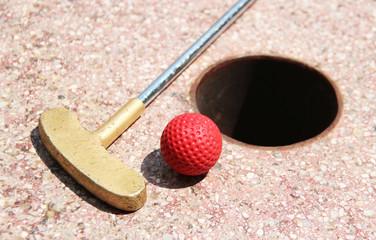 Minigolf ball on a course