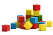 toy blocks heap, multicolor wooden bricks stack isolated - 66269593