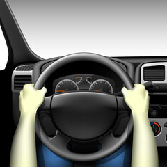 Car driver - car interior with dashboard and hands of driver