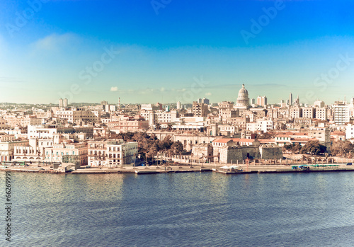 Fotobehang Caraïben Havana. View of the old city,with a retro effect