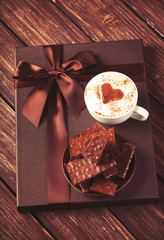 Cup of coffee and chocolate.