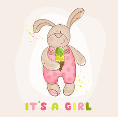 Baby Bunny with Ice Cream - for Baby Shower or Arrival Card