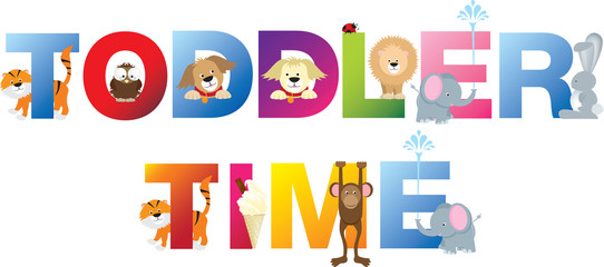Toddler time word in childrens alphabet typeface