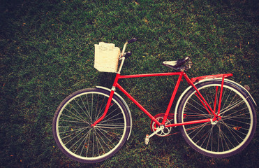 Vintage bicycle waiting on grass