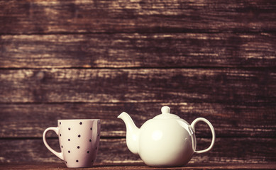 Teapot and cup of tea
