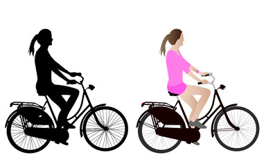 female bicyclist silhouette and illustration - vector