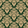 Green and beige seamless floral pattern