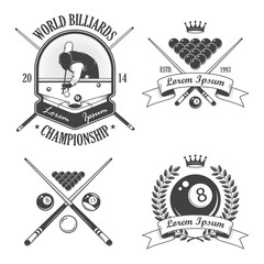 Set of billiards emblems labels and designed elements