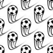 Seamless pattern of speeding soccer balls