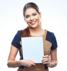 Business woman blank white banner