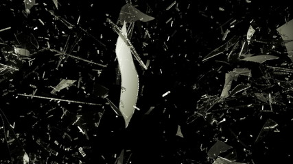 smashed and Shattered glass with slow motion. Alpha