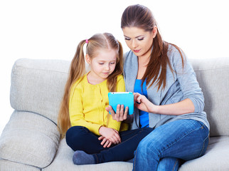 Child home education with tablet PC.