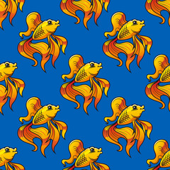 Beautiful ornamental goldfish seamless pattern