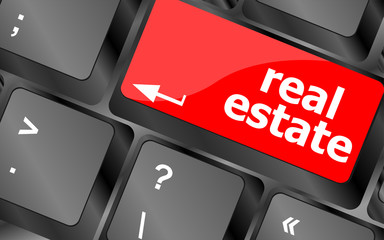 Real Estate. hot key on computer keyboard with Real Estate words