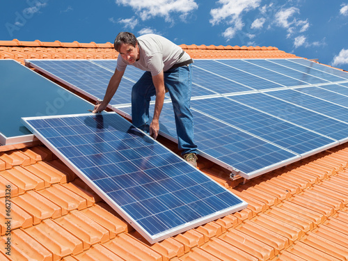canvas print picture installing alternative energy photovoltaic solar panels