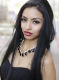 Beautiful exotic young woman long hair