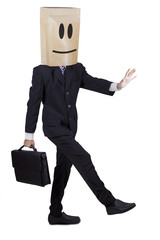 Businessman with cardboard head searching the way