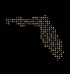 Florida color square dot map image. Concept of modernism