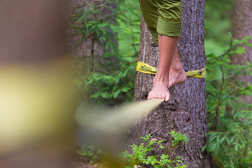 Slack line in the nature.