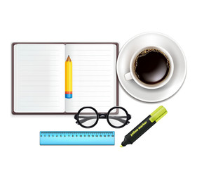 Cup of Coffee, Pencil, Notebook, Marker, Ruler, Glasses