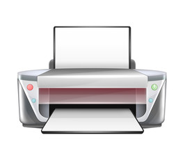 Isolated Vector Realistic Printer