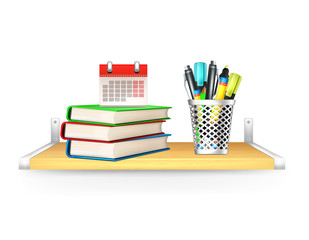 Vector Books, Pencil Box, Calendar on Shelf