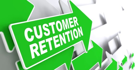 Customer Retention on Green Direction Arrow Sign.