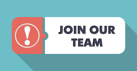 Join Our Team on Turquoise in Flat Design.