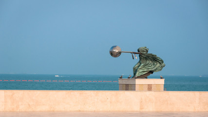 Harnessing the World sculpture , Katara Doha, Qatar