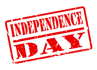 INDEPENDENCE DAY text red stamp on white