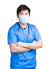 Doctor with face mask in surgical uniform