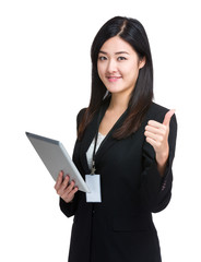 Business woman hold tablet and thumb up