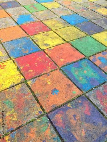 canvas print picture Bunte Farbe auf Gehweg