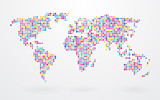 world map made ​​up of small colorful dots poster