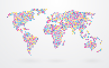 world map made ​​up of small colorful dots