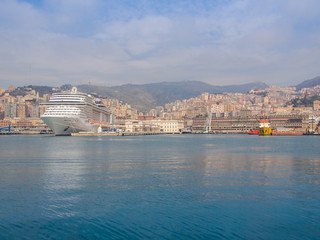 View of Genoa Italy from the sea