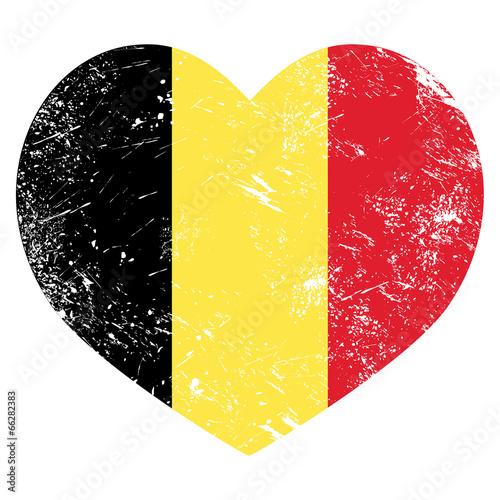 Fototapeta Belgium heart retro flag