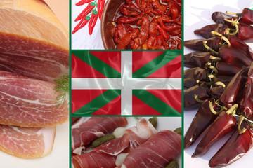 Produits du Pays Basque : Jambon cru , Piment . .