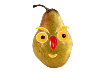 Funny portrait made ??from pears  and oranges