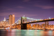 Brooklyn bridge at night in New York