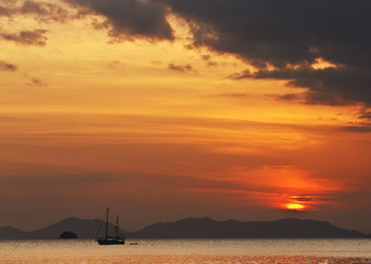 Amazing view of fishing boat at sunset in Ao Nang
