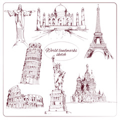 World landmark sketch
