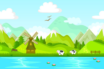 seamless background with windmill and farm animals